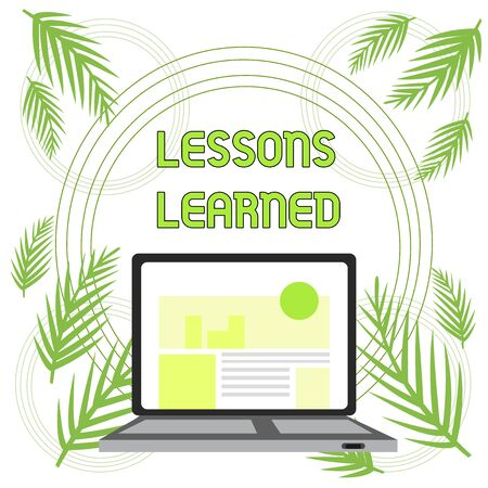Handwriting text Lessons Learned. Conceptual photo information reflects positive and negative experiences Open Modern Laptop Switched On with Website Homepage on Screen Web Search Banco de Imagens - 124656651