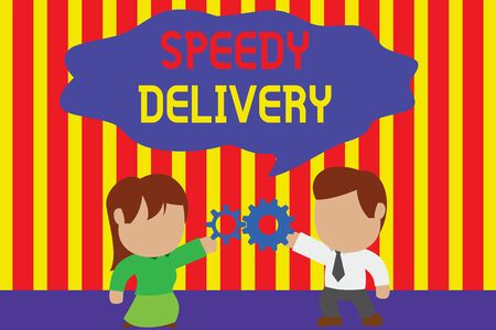 Writing note showing Speedy Delivery. Business concept for provide products in fast way or same day shipping overseas Young couple sharing gear Man tie woman skirt relation