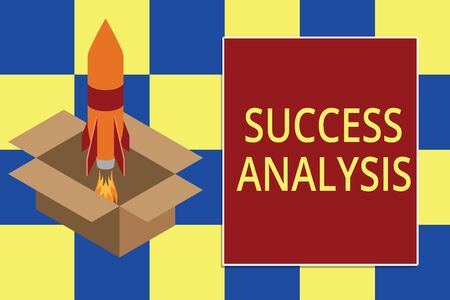 Text sign showing Success Analysis. Business photo text creating graph to determine increase in sales or profits Fire launching rocket carton box. Starting up project. Fuel inspiration Foto de archivo - 124656659