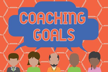 Writing note showing Coaching Goals. Business concept for Empowers individuals Encourages them to take responsibility Five different persons sharing speech bubble People talking Stockfoto
