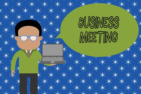 Text sign showing Business Meeting. Business photo showcasing used discuss issues that cannot be addressed in simple way Standing man in suit wearing eyeglasses holding open laptop photo Art Banco de Imagens