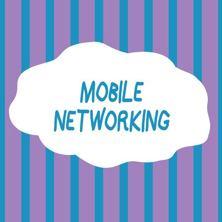 Text sign showing Mobile Networking. Business photo showcasing Communication network where the last link is wireless Seamless Vertical Stripes Pattern in Blue and Violet Alternate Color Strip Banco de Imagens - 124656710
