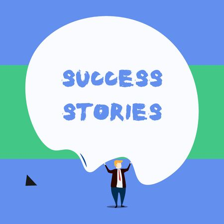 Text sign showing Success Stories. Business photo showcasing life of rule models from how he started to his death Front view standing man dressed suit tie two hands up big deflated balloon Stockfoto
