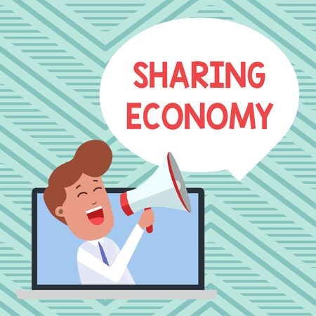 Conceptual hand writing showing Sharing Economy. Concept meaning economic model based on providing access to goods Man Speaking Through Laptop into Loudhailer Bubble Announce Banco de Imagens
