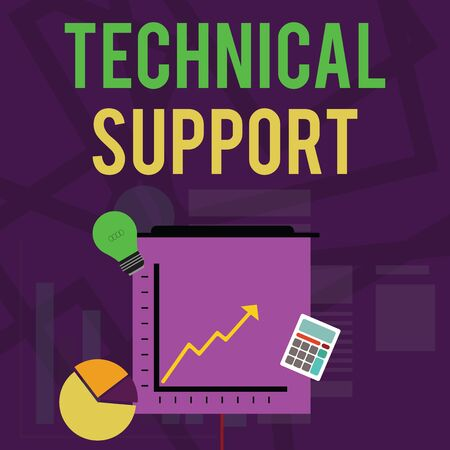 Text sign showing Technical Support. Business photo text Repair and advice services to users of their products Investment Icons of Pie and Line Chart with Arrow Going Up, Bulb, Calculator