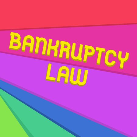 Handwriting text writing Bankruptcy Law. Conceptual photo Designed to help creditor in getting the asset of the debtor Multicolor Sheets of Cardboard Paper of Different Colors Placed Randomly 免版税图像