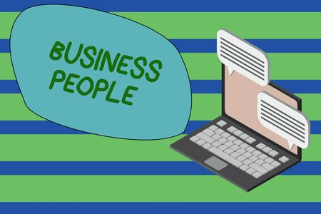 Writing note showing Business People. Business concept for People who work in business especially at an executive level Laptop receiving sending information internet wireless Stock Photo