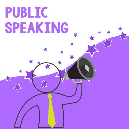 Text sign showing Public Speaking. Business photo showcasing talking showing stage in subject Conference Presentation Outline Symbol Man Loudspeaker Making Announcement Giving Instructions