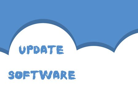 Writing note showing Update Software. Business concept for replacing program with a newer version of same product Half cloud blue sky landscape Seamless cloudy pattern Abstract Banco de Imagens - 124656821