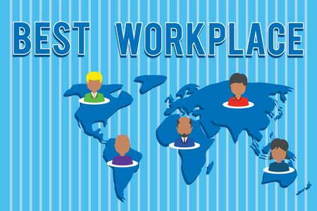 Conceptual hand writing showing Best Workplace. Concept meaning Ideal company to work with High compensation Stress free Connection multiethnic persons all Global business earth map Banco de Imagens - 124656822