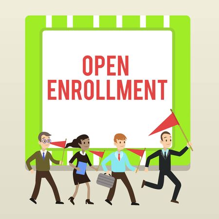 Handwriting text writing Open Enrollment. Conceptual photo The yearly period when showing can enroll an insurance People Crowd Flags Pennants Headed by Leader Running Demonstration Meeting 스톡 콘텐츠