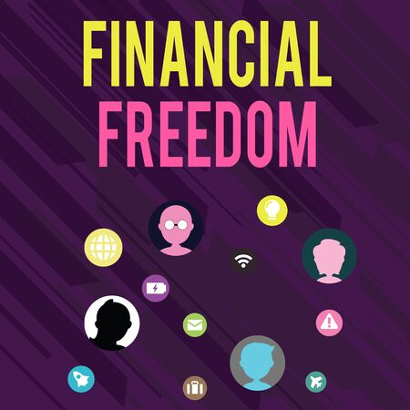 Conceptual hand writing showing Financial Freedom. Concept meaning Having money Free from worry when it comes to cash flow Networking Technical Icons Chat Heads on Screen for Link Up Фото со стока
