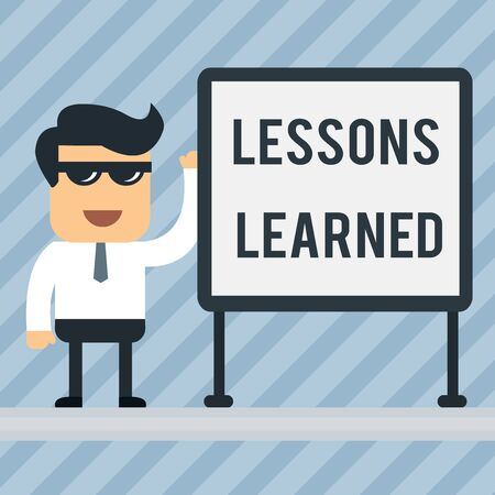 Writing note showing Lessons Learned. Business concept for information reflects positive and negative experiences Office Worker Sunglass Blank Whiteboard Meeting Presentation Banco de Imagens - 124656875