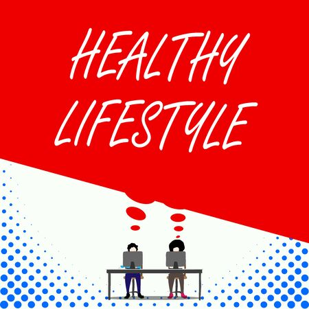 Text sign showing Healthy Lifestyle. Business photo text Live Healthy Engage in physical activity and exercise Two men sitting behind desk each one laptop sharing blank thought bubble Фото со стока