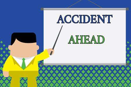 Writing note showing Accident Ahead. Business concept for Unfortunate event Be Prepared Detour Avoid tailgating Businessman standing in front projector screen pointing project idea