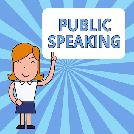 Writing note showing Public Speaking. Business concept for talking showing stage in subject Conference Presentation Woman Standing with Raised Left Index Finger Pointing at Blank Text Box Banco de Imagens