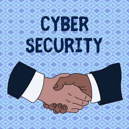 Handwriting text Cyber Security. Conceptual photo Protect a computer system against unauthorized access Hand Shake Multiracial Male Business Partners Colleagues Formal Shirt Suit Banco de Imagens - 124656894