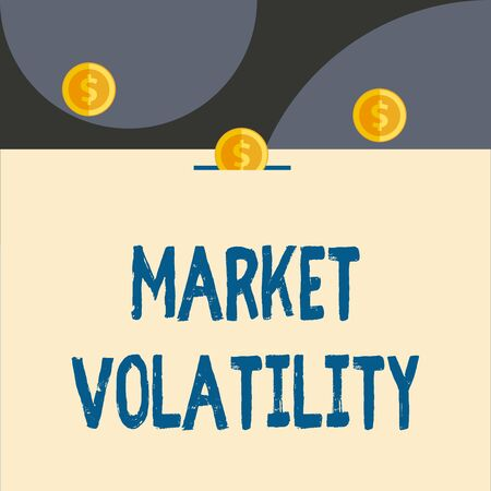 Text sign showing Market Volatility. Business photo showcasing Underlying securities prices fluctuates Stability status Front view close up three penny coins icon one entering collecting box slot Foto de archivo - 124656898