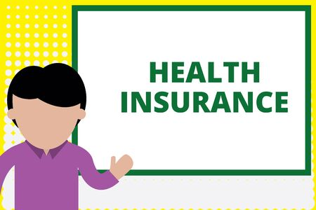 Text sign showing Health Insurance. Business photo text coveragethat pays for medicaland surgical expenses Young man standing in front whiteboard pointing to project. photo Art