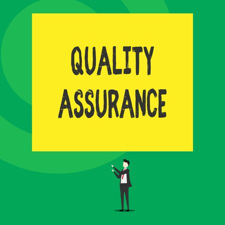 Word writing text Quality Assurance. Business photo showcasing Ensures a certain level of quality Established requirement Isolated view young man standing pointing upwards two hands big rectangle Banco de Imagens - 124656920