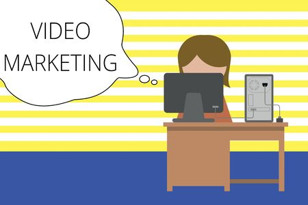 Writing note showing Video Marketing. Business concept for create short videos about specific topics using articles Young female working in office computer office monitor photo