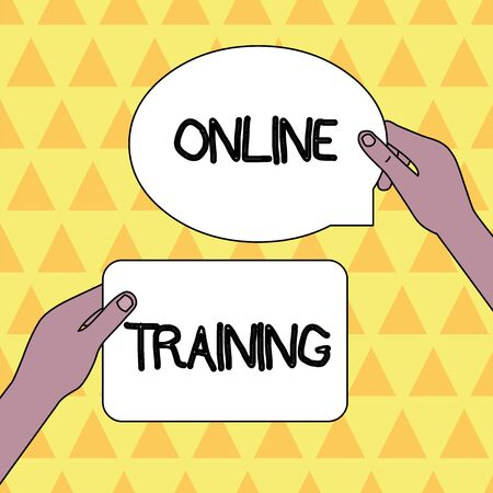 Handwriting text Online Training. Conceptual photo Take the education program from the electronic means Two Blank Figured Tablets Signs Held in Hands One Above Other Text Space