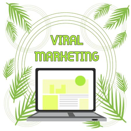 Handwriting text Viral Marketing. Conceptual photo whereby consumer encouraged share information via Internet Open Modern Laptop Switched On with Website Homepage on Screen Web Search