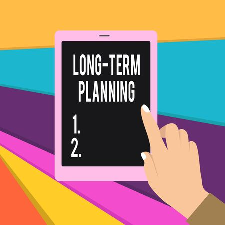 Word writing text Long Term Planning. Business photo showcasing Establish Expected Goals five or more years ahead Female Hand with White Polished Nails Pointing Finger Tablet Screen Off