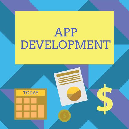 Text sign showing App Development. Business photo showcasing Development services for awesome mobile and web experiences Computing Dollar Investment in Gold and Presenting Data thru Pie Chart Graph