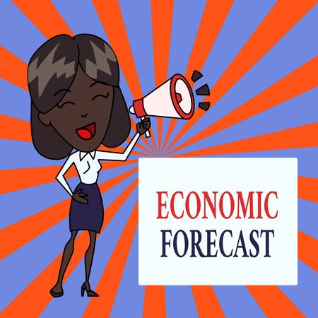 Text sign showing Economic Forecast. Business photo text Process of making predictions about the economy condition Young Woman Speaking into Blowhorn Volume Icon Colored Backgdrop Text Box