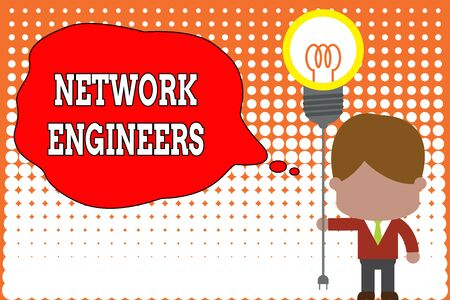 Handwriting text writing Network Engineers. Conceptual photo Technology professional Skilled in computer system Standing man tie holding plug socket light bulb to connect idea. Startup