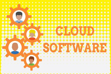 Conceptual hand writing showing Cloud Software. Concept meaning Programs used in Storing Accessing data over the internet Gearshaped picture frame family ornament Whole Family photo