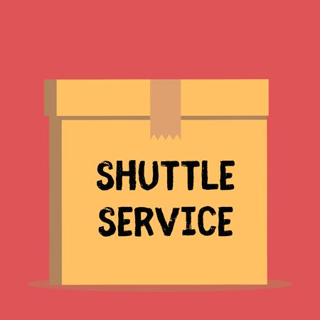 Handwriting text Shuttle Service. Conceptual photo vehicles like buses travel frequently between two places Close up front view open brown cardboard sealed box lid. Blank background