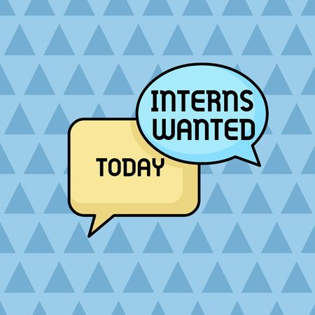 Text sign showing Interns Wanted. Business photo showcasing Looking for on the job trainee Part time Working student Pair of Overlapping Blank Speech Bubbles of Oval and Rectangular Shape Фото со стока