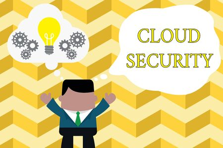 Handwriting text writing Cloud Security. Conceptual photo Protect the stored information safe Controlled technology Standing man suit hands up imaginary bubble light bulb gears working together