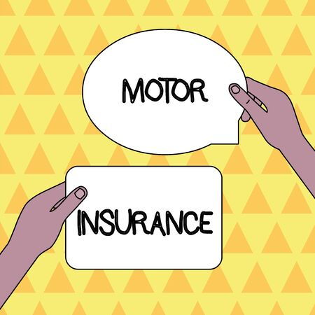 Handwriting text Motor Insurance. Conceptual photo Provides financial compensation to cover any injuries Two Blank Figured Tablets Signs Held in Hands One Above Other Text Space 版權商用圖片