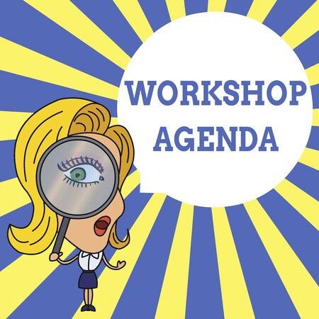 Word writing text Workshop Agenda. Business photo showcasing helps you to ensure that your place stays on schedule Woman Looking Trough Magnifying Glass Big Eye Blank Round Speech Bubble Banco de Imagens - 124656927