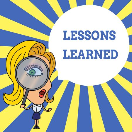 Word writing text Lessons Learned. Business photo showcasing information reflects positive and negative experiences Woman Looking Trough Magnifying Glass Big Eye Blank Round Speech Bubble Foto de archivo - 124656931