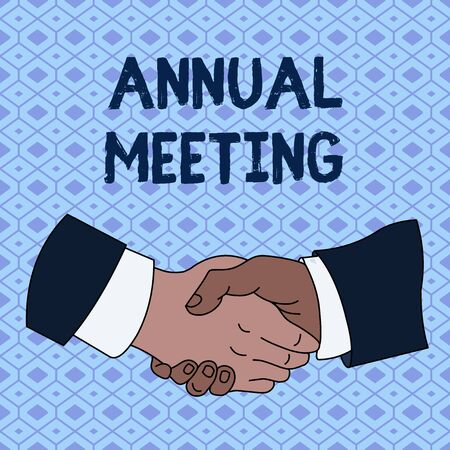 Handwriting text Annual Meeting. Conceptual photo Yearly gathering of an organization interested shareholders Hand Shake Multiracial Male Business Partners Colleagues Formal Shirt Suit Banco de Imagens
