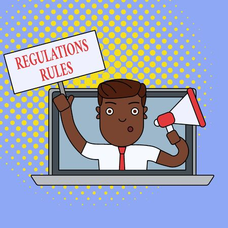Text sign showing Regulations Rules. Business photo showcasing Standard Statement Procedure govern to control a conduct Man Speaking Through Laptop Screen into Megaphone Blank Plate with Handle Фото со стока