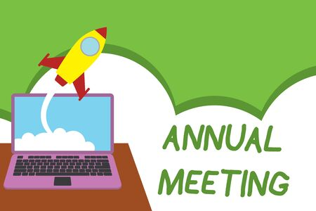 Text sign showing Annual Meeting. Business photo showcasing Yearly gathering of an organization interested shareholders Successful rocket launching clouds out laptop background. Startup growing