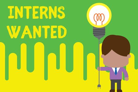 Handwriting text Interns Wanted. Conceptual photo Looking for on the job trainee Part time Working student Standing man tie holding plug socket light bulb to connect idea. Startup Фото со стока