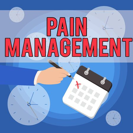 Text sign showing Pain Management. Business photo showcasing a branch of medicine employing an interdisciplinary approach Male Hand Formal Suit Crosses Off One Day Calendar Red Ink Ballpoint Pen