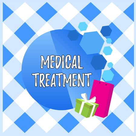 Conceptual hand writing showing Medical Treatment. Concept meaning Management and care of a patient to combat disease Greeting Card Poster Gift Package Box Decorated by Bowknot Stock Photo