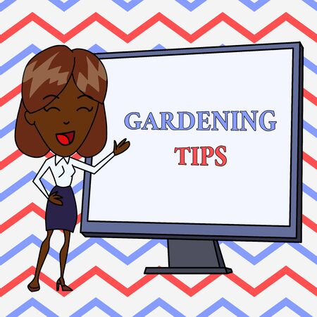 Conceptual hand writing showing Gardening Tips. Concept meaning Proper Practices in growing crops Botanical Approach White Female in Standing Pointing Whiteboard Presentation