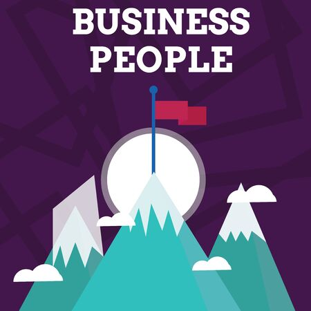 Handwriting text writing Business People. Conceptual photo People who work in business especially at an executive level Three High Mountains with Snow and One has Blank Colorful Flag at the Peak