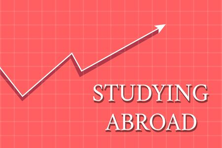 Conceptual hand writing showing Studying Abroad. Concept meaning learn outside of home in foreign country Travelling Crook White Progress Arrow with Shadow Quadrille Background