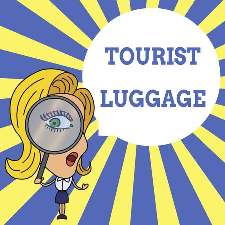 Word writing text Tourist Luggage. Business photo showcasing big bag that contains everything one needs for traveling Woman Looking Trough Magnifying Glass Big Eye Blank Round Speech Bubble