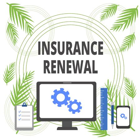 Handwriting text writing Insurance Renewal. Conceptual photo Protection from financial loss Continue the agreement Business Concept PC Monitor Mobile Device Clipboard Ruler Ballpoint Pen Stock Photo