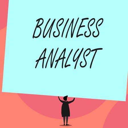Word writing text Business Analyst. Business photo showcasing someone who analyzes big organization or website domain Back view standing short hair woman dress hands up holding blank rectangle Imagens